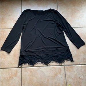 Ivanka Trump Black Lace Trim Stretch Blouse Small